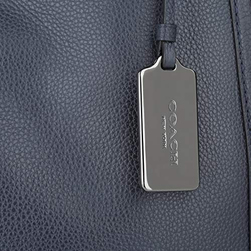 Leather Bag Polished Coach Turnlock Bleu Pebbled Edie Black Shoulder wnXqO1