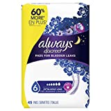 ALWAYS DISCREET Incontinence Pads for Women, Extra Heavy, Long Length, 45 Count