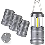 4 Pack LED Camping Lantern Lights Collapsible - Moobibear 500lm COB Technology Waterproof Lantern Battery Powered with Magnetic Base for Night, Fishing, Hiking, Emergencies