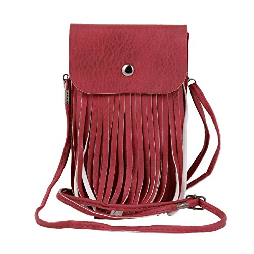 Vintage Womens Bag Crossbody Phone Wine Buckle Damara Red Magnet Tassel Z75wqgq