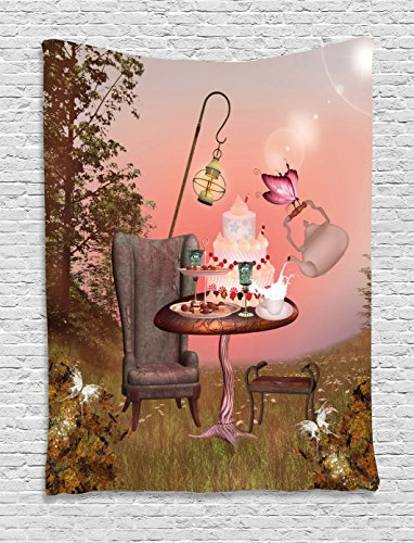 Surrealistic Tapestry by Ambesonne, Birthday Alice in Wonderland with Cake Butterfly in Magical Forest Cartoon Art, Wall Hanging for Bedroom Living Room Dorm, 60 W X 80 L Inches, Multicolor