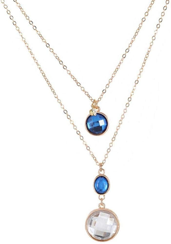 Collar Vintage Multicapa, Cadena de Cobre, Colgante de Piedras Preciosas, Regalo de Joyas, Collar de estrás