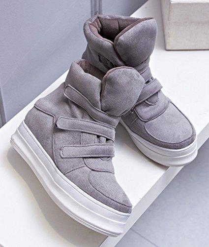 Short Gray Platform Heighten IDIFU Heels Booties Velcro Winter Womens Snow Mid Wedge Antiskid Boots OS4WnS
