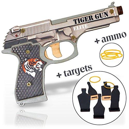 Shocking Guns (Rubber Band Gun Toy Pistol for Boys | Kids Toy Gun for Indoor Outdoor Games and Pretend Play | Wooden Toy Gun Stress Reliever Toy | Cool Fidget Toy Tiger Gun Elite)