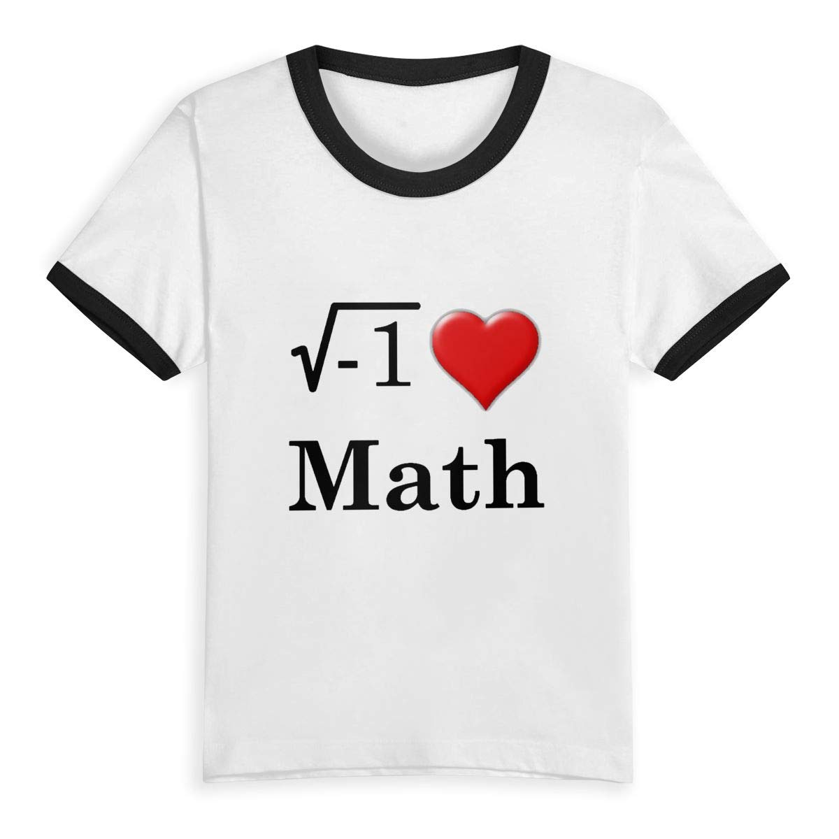 Kids T-Shirt Tops I Love Math Unisex Youths Short Sleeve T-Shirt