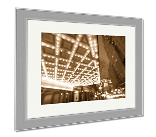 Ashley Framed Prints Portland Downtown Broadway Entertainment District At Night, Wall Art Home Decoration, Sepia, 34x40 (frame size), Silver Frame, - Portland Shopping Or Downtown