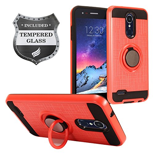LG Tribute Empire/Dynasty, Aristo 3, Aristo 2 / 2 Plus, Phoenix 4, Fortune 2, Risio 3, Zone 4, Rebel 4, LG K8/K8+ 2018 - Hybrid Hard Case w/ Ring Stand + Tempered Glass Screen Protector - RS2 Red