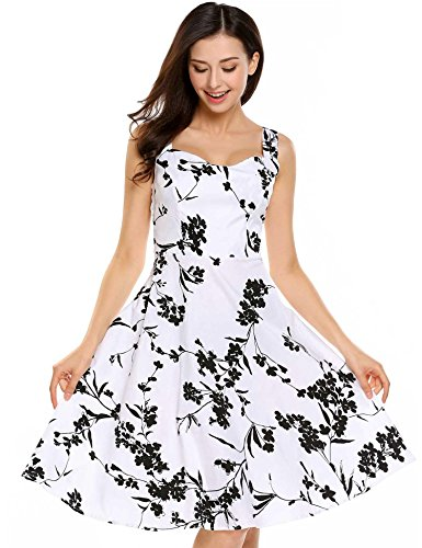 ACEVOG Women's Printed Floral 1950s Vintage Swing Sleeveless Tea Dress (White&Black, XL)