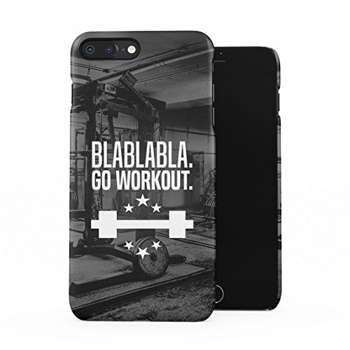 Gym Weightlifting Hard Workout Blablabla Go Workout Quote Plastic Phone Snap On Back Case Cover Shell Compatible with iPhone 7 Plus & iPhone 8 Plus