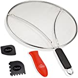 'Chefast Splatter Screen Set: 13-Inch Stainless Steel Grease Splatter Guard, Cooking and Grill Pan Scrapers, and Silicone Hot Handle Holder - Oil Splash Shield for Frying Pans, Pots, and Skillets' from the web at 'https://images-na.ssl-images-amazon.com/images/I/51LANNr7D6L._AC_SR160,160_.jpg'