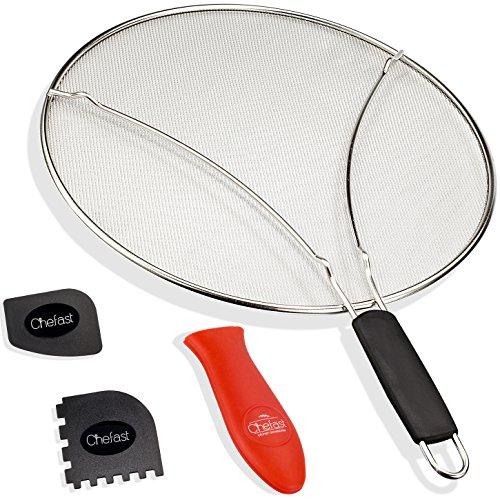 (Chefast Splatter Screen Set: 13-Inch Stainless Steel Grease Guard, Grill and Cooking Pan Scrapers, and Silicone Hot Handle Holder - Oil Shield for Frying Pans and Skillets)
