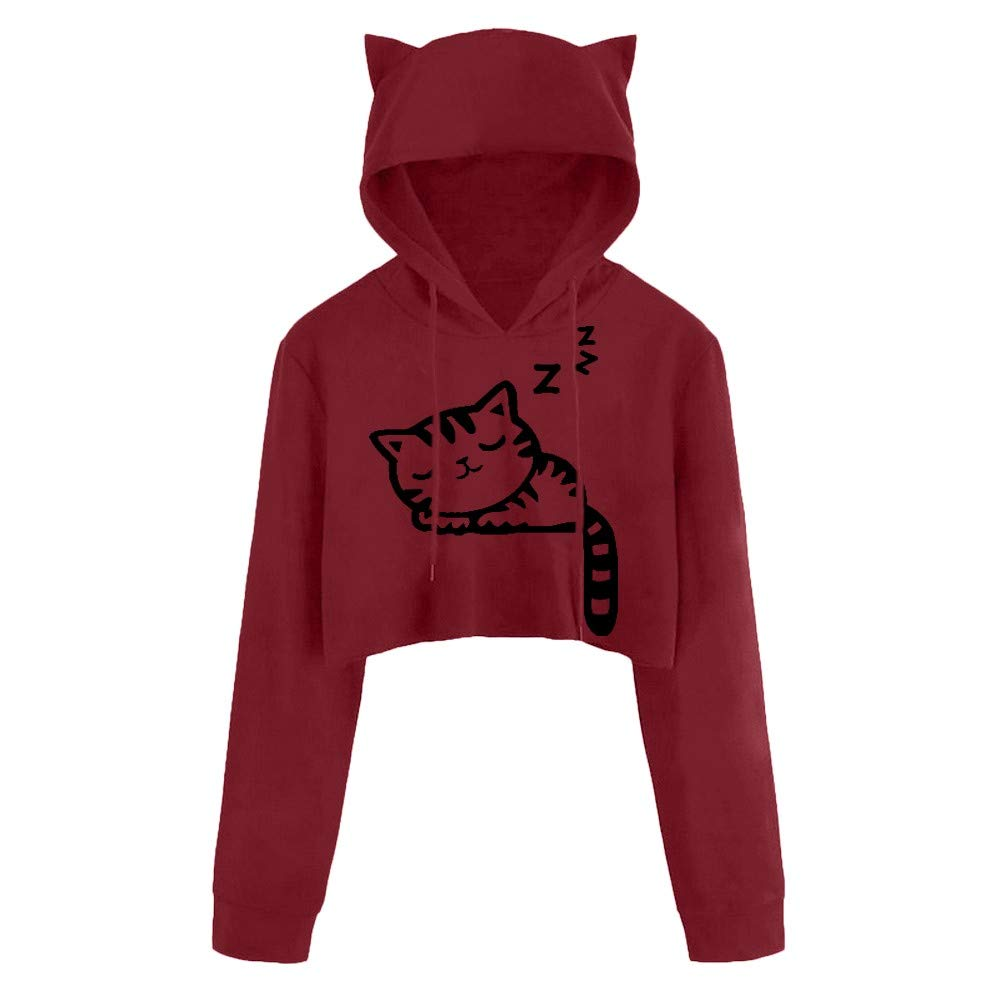 Women Hoodie Long Sleeve Pullover Teen Girls Cute Crop Tops Cat Kitty Print Sweatshirts Casual Blouse Shirts Wine