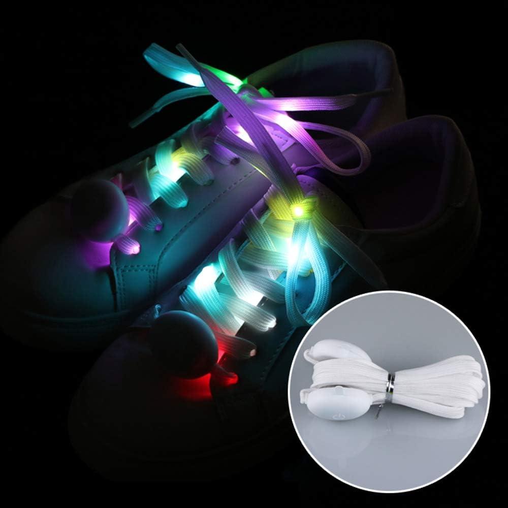 Explopur Lacet de Chaussure Une Paire de Lani/ères en Nylon /À la Mode de Sangles Lumineuses LED Chaussure Color/ée Clignotant Chaussure L/ég/ère 1.2M Longueur