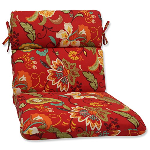 (Pillow Perfect Outdoor Tamariu Alfresco Valencia Rounded Corners Chair Cushion, Red)