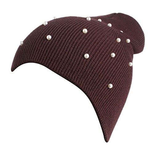 URIBAKE Women's Beanies Winter Wool Knitting Hat Warm Hat Cap Pile Cap Ski Cap Pearls Dressed -