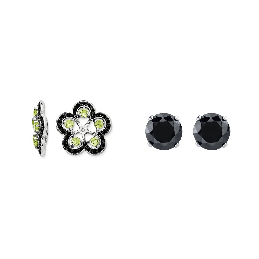 Sterling Silver Simulated Peridot, Black Simulated Sapphire Earring Jacket + 2mm Black CZ Stud Earrings