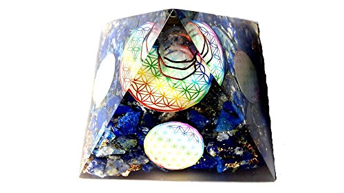 WholesaleGemShop Lapis Lazuli Orgone Pyramid Flower Of Life 4 Sides Christmas Tower Buster Piezo Electric EMF Protection Generator Frequency Ions Tested Cloud Chem Buster