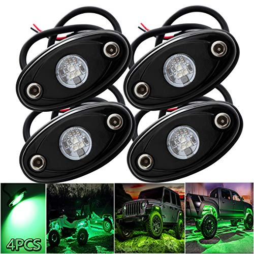 LEDMIRCY LED Rock Lights Green Kit for JEEP Off Road Truck ATV SUV Car Boat Auto High Power Underbody Glow Neon Trail Rig Lamp Underglow Lights Waterproof Shockproof(Pack of 4,Green)
