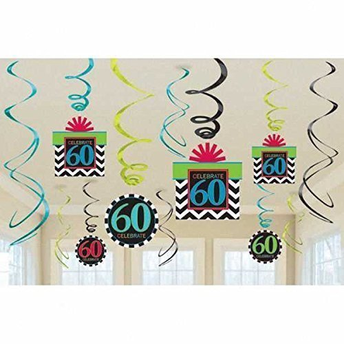 60th Birthday foil swirl decorations Chevron design x 12 Party Bags 2 go