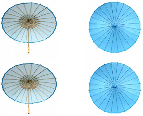 Koyal Wholesale 32-Inch Paper Parasol, 4-Pack Umbrella for Wedding, Bridesmaids, Party Favors, Summer Sun Shade (4, Turquoise)