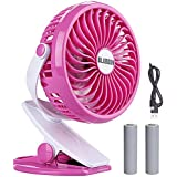 BLUBOON Clip on Fan Battery Operated Speed Adjustable Portable Mini Stroller Fan