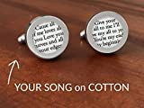Custom Cotton Cufflinks with Wedding Song / 2nd Anniversary Gift for Him