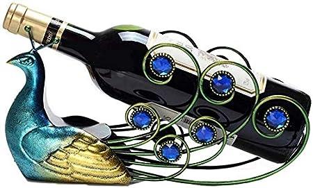 JBNJV Estante para vinos Estante para Copas de Vino Estante para vinos Estante para Botellas de Vino Estante para vinos de Metal Creativo Estante para Botellas de Vino con Personalidad de Pavo Rea