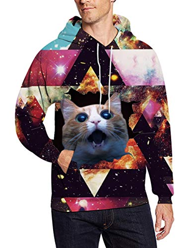 Mens Fleece Hoooded Sweatshirt 3D Digital Print Cool Novelty Warm Cowl Neck Women's Cat Pullover Sweater Big Kanga Pocket Realistic Color Block Galaxy Geometric Graphic Teen Boy Girl Active - Colorblock Pullover Mens Fleece