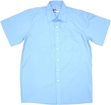 Zeco Camiseta de manga corta para niños de 11 a 17,5 pulgadas Cuello Generoso Corte Blanco/Azul