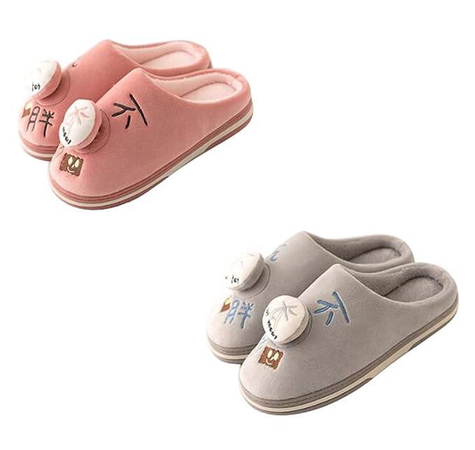 Dos pares de zapatillas de casa de dibujos animados para parejas, suaves y suaves botines de invierno antideslizantes de felpa, A: Amazon.es: Ropa y ...