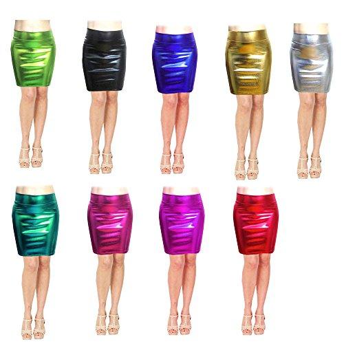 SACASUSA TM High Waisted Shiny Metallic Liquid Wet Look Pencil Skirt 10 Colors