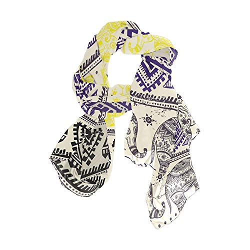 Africa Art Elephant Women Fashion Light Weight Print Scarves Scarf Gorgeous Shawl Wrap-Various Colors by Pingshoes
