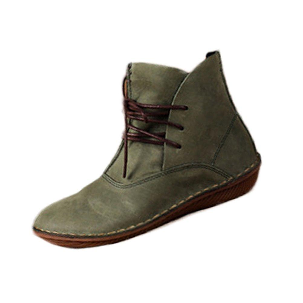 Vogstyle Botas de Cuero Para Mujer Nuevos Zapatos PlanosEU37-37.5/CH38|Estilo 1 Verde