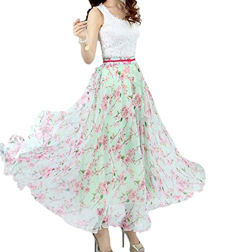Afibi Women Full/Ankle Length Blending Maxi Chiffon Long Skirt Beach Skirt (Large, Design S)