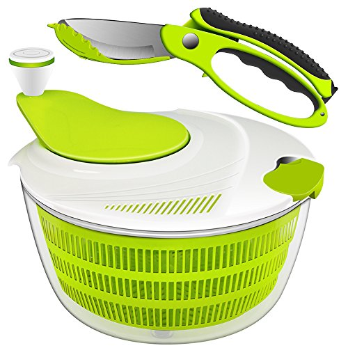 Salad Spinner Dryer, iLove Cooking Grips Salad Spinner with Vegetable Scissors - Large Capacity; BPA Free Certified; Easy Spin for Tastier Salads & Dishwasher Safe