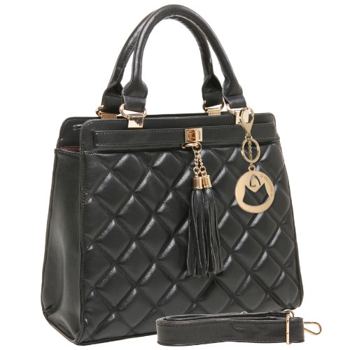 Inspired Black Purse (MG Collection Mircea Quilted Tassel Doctor Tote Style Shoulder Handbag, Black, One)