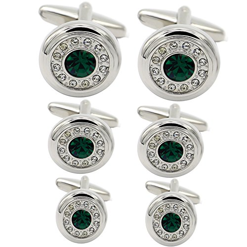 Rhungift Green Agate Diamond-Studded Cufflinks Shirt Wedding Business for Men in a Presentation Gift Box … Dragon Green Cufflinks