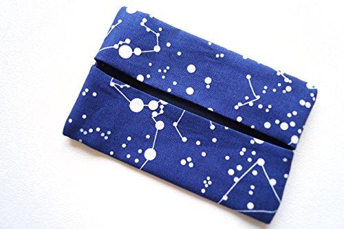 Blue Fabric Pocket Size Travel Tissue Holder in Constellation Pattern