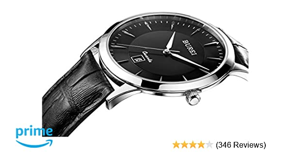 a6a285cd3e4db Amazon.com  BUREI Men Women Watches Automatic Watch Classic Quartz Wrist  Watch Fashion Analog Dial Round Case Stainless Steel Band and Leather  Strap  Jay ...