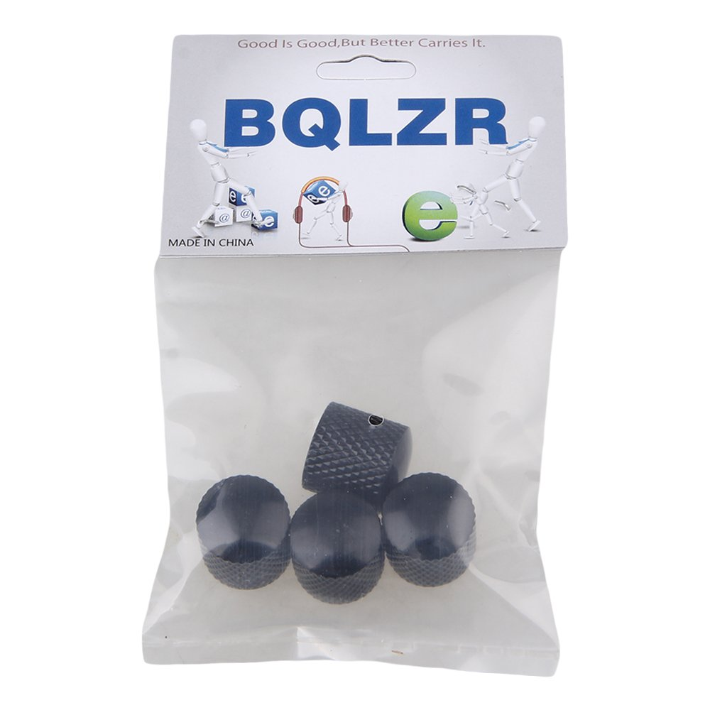 BQLZR Black Plated Metal Electric Guitar Bass Dome Tone Knobs Pack of 4 N03182