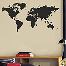 "BATTOO Word World Map Wall Decal - Letters World Map Wall Decal - Large Wall Map(32""h x64""w, Black)"