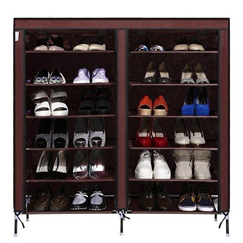 orey 12-lattice 4-pocket Exterior Portable Shoe Rack Shelf Storage Shoes Closet Organizer Cabinet & Dustproof Fabric Cover(US STOCK0 (Coffee) (Coffee Lattice)