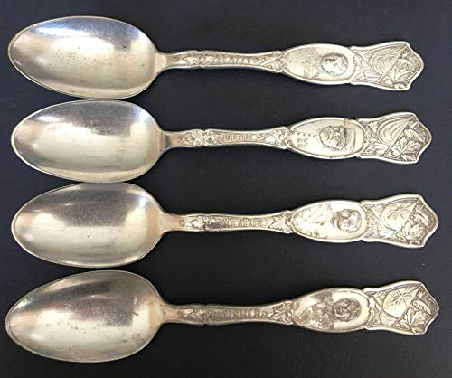 SET OF 4 VINTAGE 1881 ROGERS A1 SILVERPLATE SERVING SPOONS NAMED