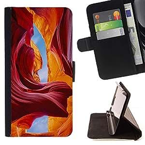 For Apple (5.5 inches!!!) iPhone 6+ Plus / 6S+ Plus Case , Red Sky Cuevas Cañón Sand Sun- la tarjeta de Crédito Slots PU Funda de cuero Monedero caso cubierta de piel