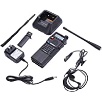 Hongfei Walkie Talkie UV-5R Dual Band UHF/VHF 136-174/400-520 MHz Two-Way Radio Transceiver VOX Upgrade 3800mah Battery with Earpiece (US Plug)