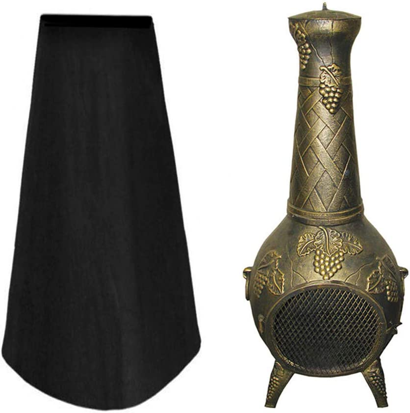 WarmCare Patio Stand-Up Outdoor Patio Heater Covers UV Waterproof Weatherproof Garden Chimney Fire Pit Fountain Year Around Protective Black