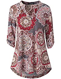 Womens Floral Printed Tunic Shirts 3/4 Roll Sleeve Notch...