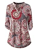 Zattcas Womens Floral Printed Tunic Shirts 3/4 Roll Sleeve Notch Neck Tunic Top (X-Large, Multi Gray)