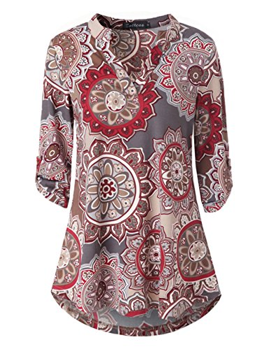 Zattcas Womens Floral Printed Tunic Shirts 3/4 Roll Sleeve Notch Neck Tunic Top (Large, Multi Gray) (High Neck Floral Tunic)