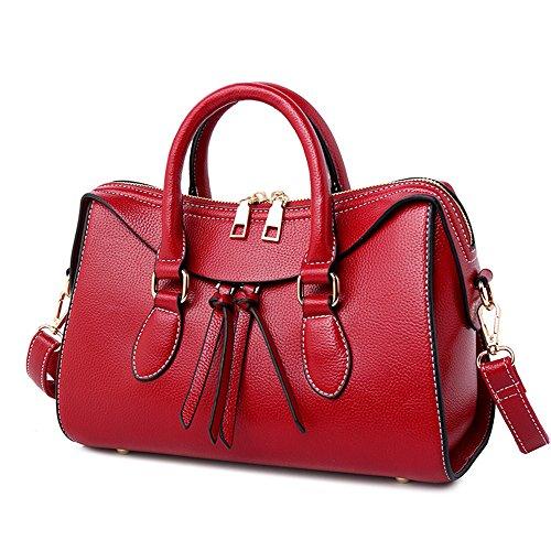 GWQGZ New Fashion Ladies Handbag Simple Temperament Boston Shoulder (Suede Boston Bag)